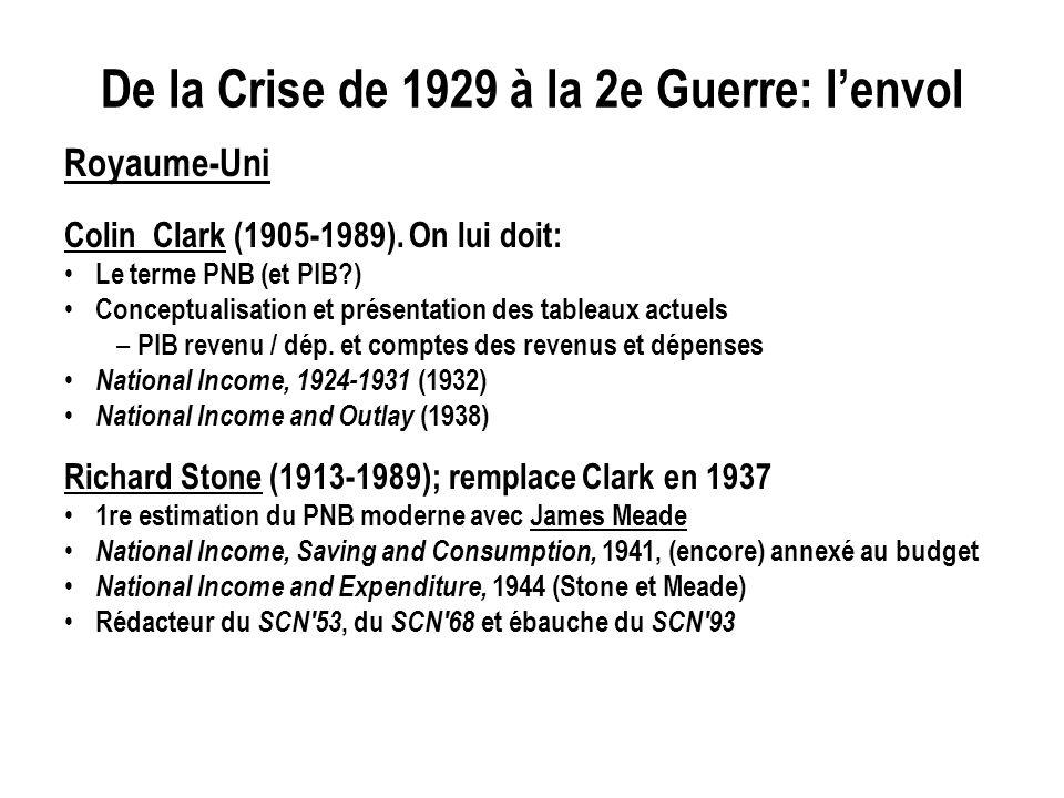 De la Crise de 1929 à la 2e Guerre: lenvol Royaume-Uni Colin Clark (1905-1989). On lui doit: Le terme PNB (et PIB?) Conceptualisation et présentation