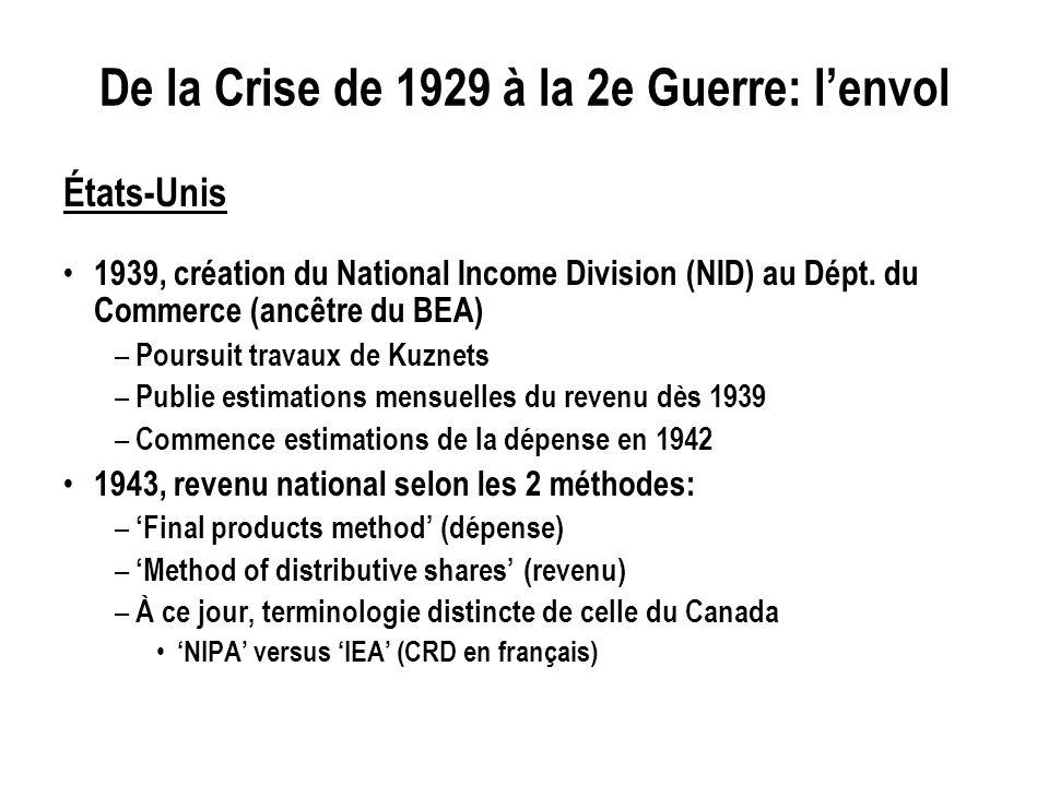 De la Crise de 1929 à la 2e Guerre: lenvol États-Unis 1939, création du National Income Division (NID) au Dépt. du Commerce (ancêtre du BEA) – Poursui