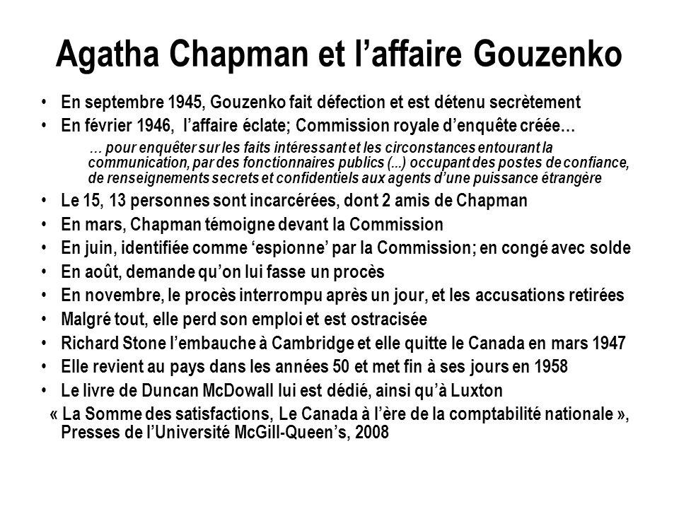 Agatha Chapman et laffaire Gouzenko En septembre 1945, Gouzenko fait défection et est détenu secrètement En février 1946, laffaire éclate; Commission