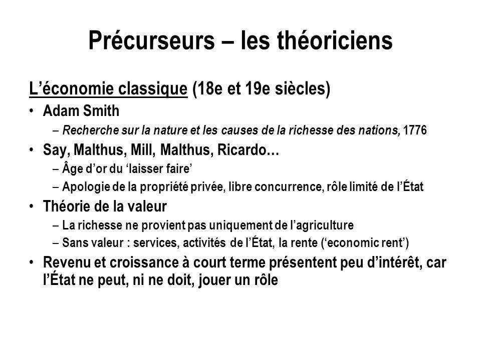Précurseurs – les théoriciens Léconomie classique (18e et 19e siècles) Adam Smith – Recherche sur la nature et les causes de la richesse des nations,