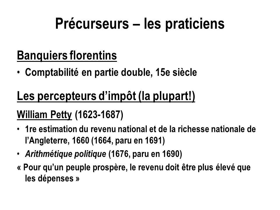 Précurseurs – les praticiens Banquiers florentins Comptabilité en partie double, 15e siècle Les percepteurs dimpôt (la plupart!) William Petty (1623-1