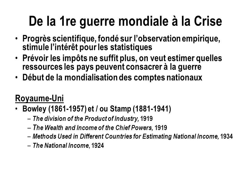 De la 1re guerre mondiale à la Crise Progrès scientifique, fondé sur lobservation empirique, stimule lintérêt pour les statistiques Prévoir les impôts