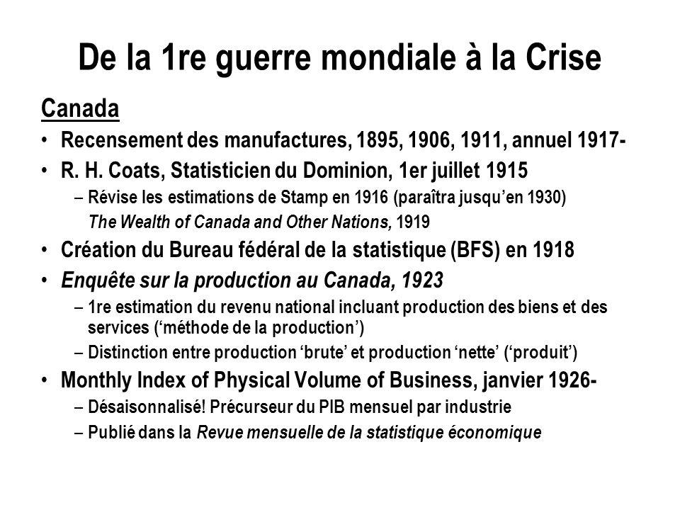 De la 1re guerre mondiale à la Crise Canada Recensement des manufactures, 1895, 1906, 1911, annuel 1917- R. H. Coats, Statisticien du Dominion, 1er ju