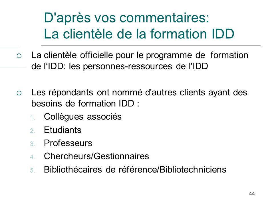 44 D après vos commentaires: La clientèle de la formation IDD La clientèle officielle pour le programme de formation de lIDD: les personnes-ressources de l IDD Les répondants ont nommé d autres clients ayant des besoins de formation IDD : 1.