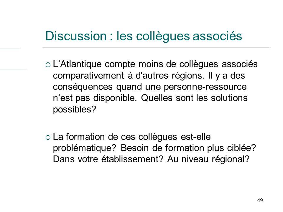 49 Discussion : les collègues associés LAtlantique compte moins de collègues associés comparativement à d autres régions.