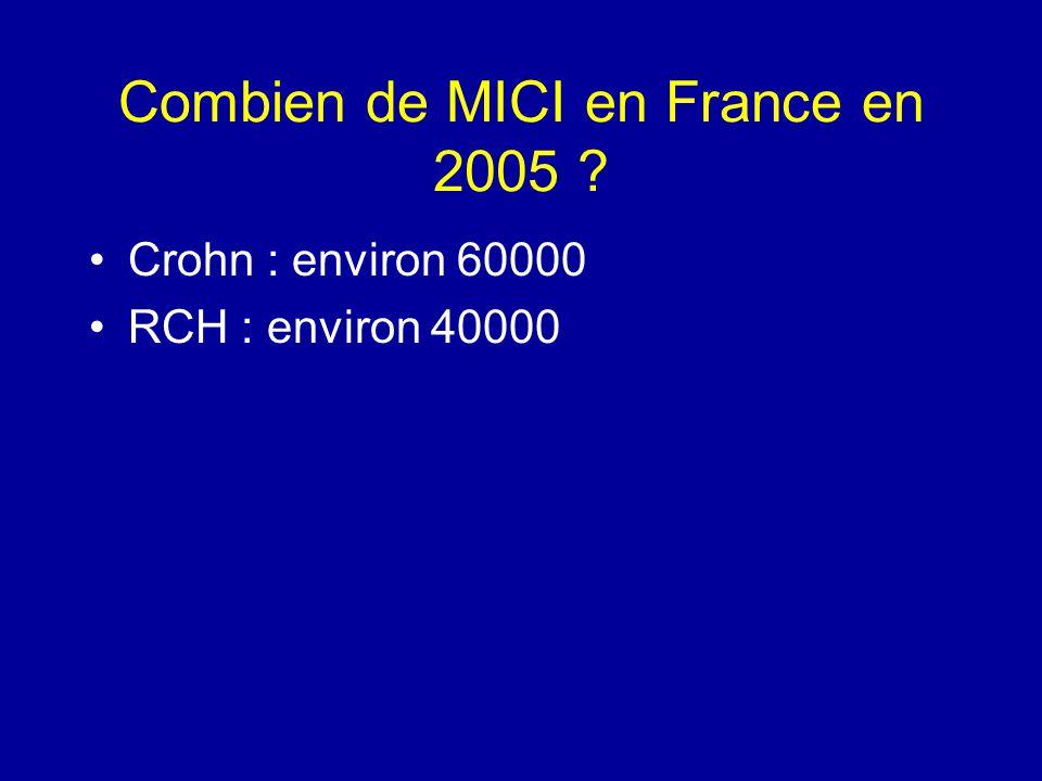 Combien de MICI en France en 2005 ? Crohn : environ 60000 RCH : environ 40000