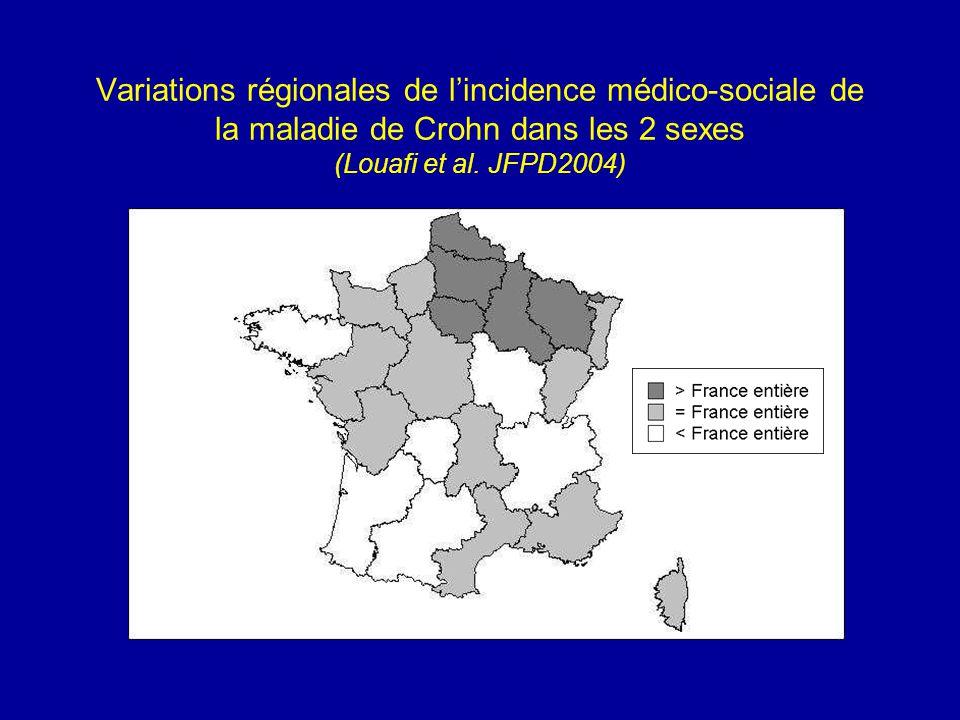 Variations régionales de lincidence médico-sociale de la maladie de Crohn dans les 2 sexes (Louafi et al. JFPD2004)