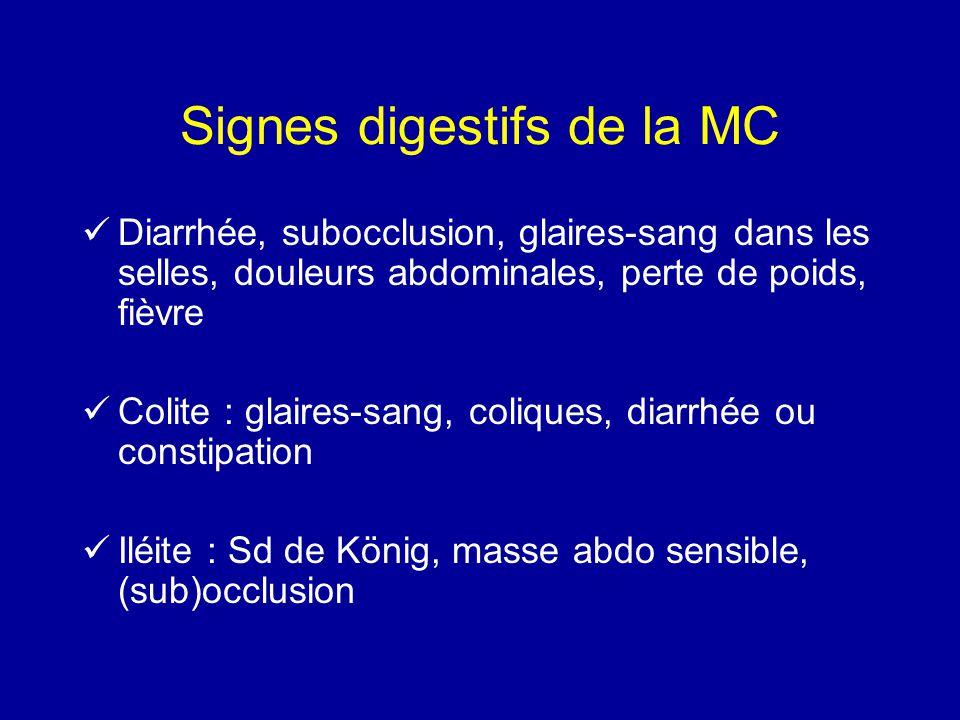 Signes digestifs de la MC Diarrhée, subocclusion, glaires-sang dans les selles, douleurs abdominales, perte de poids, fièvre Colite : glaires-sang, co