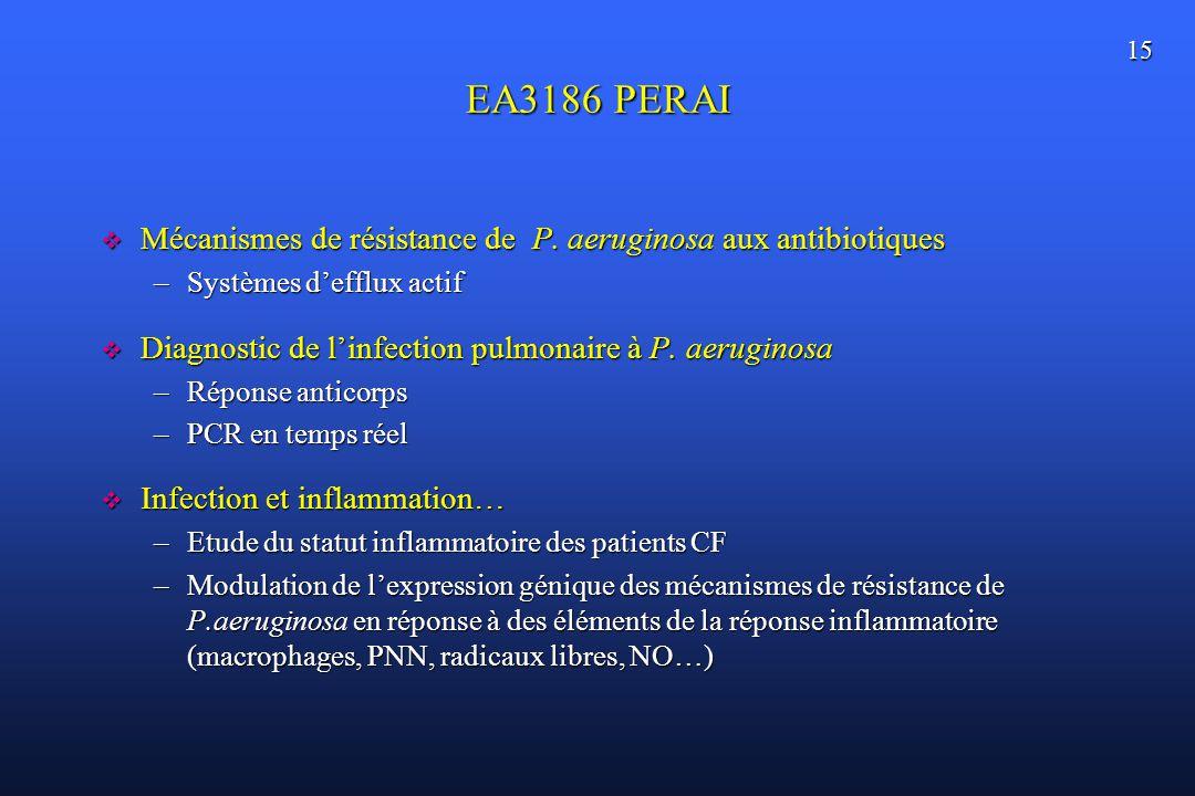 15 EA3186 PERAI Mécanismes de résistance de P. aeruginosa aux antibiotiques Mécanismes de résistance de P. aeruginosa aux antibiotiques –Systèmes deff