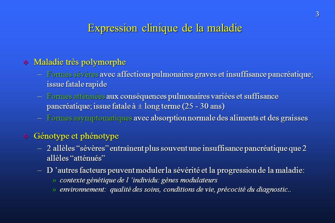 3 Expression clinique de la maladie Maladie très polymorphe Maladie très polymorphe –Formes sévères avec affections pulmonaires graves et insuffisance