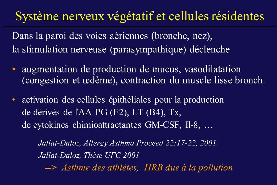 Système nerveux végétatif et cellules résidentes Dans la paroi des voies aériennes (bronche, nez), la stimulation nerveuse (parasympathique) déclenche
