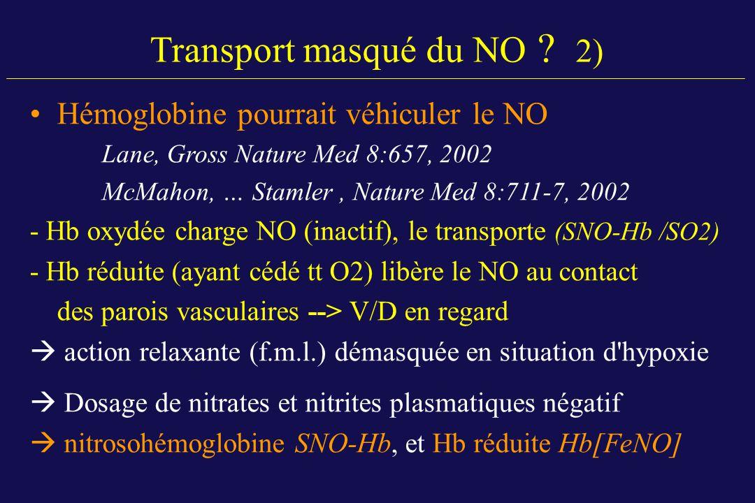 Hémoglobine pourrait véhiculer le NO Lane, Gross Nature Med 8:657, 2002 McMahon, … Stamler, Nature Med 8:711-7, 2002 - Hb oxydée charge NO (inactif),