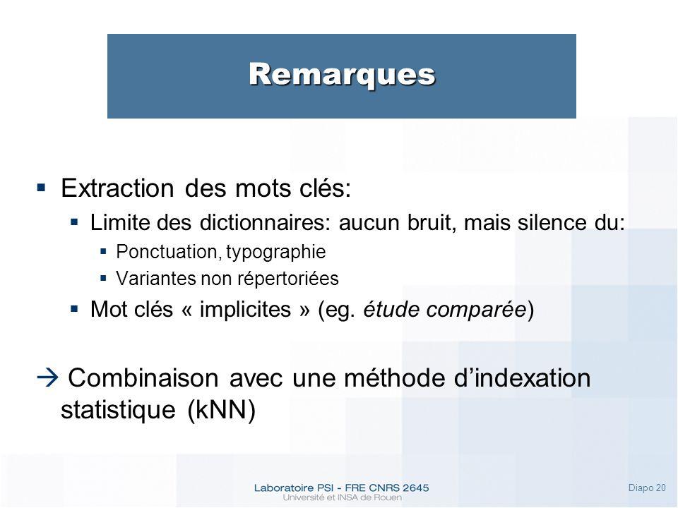 Diapo 20 Remarques Extraction des mots clés: Limite des dictionnaires: aucun bruit, mais silence du: Ponctuation, typographie Variantes non répertoriées Mot clés « implicites » (eg.