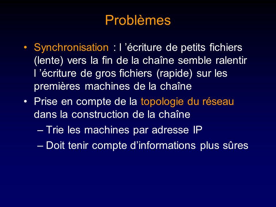 Problèmes Synchronisation : l écriture de petits fichiers (lente) vers la fin de la chaîne semble ralentir l écriture de gros fichiers (rapide) sur les premières machines de la chaîne Prise en compte de la topologie du réseau dans la construction de la chaîne –Trie les machines par adresse IP –Doit tenir compte dinformations plus sûres