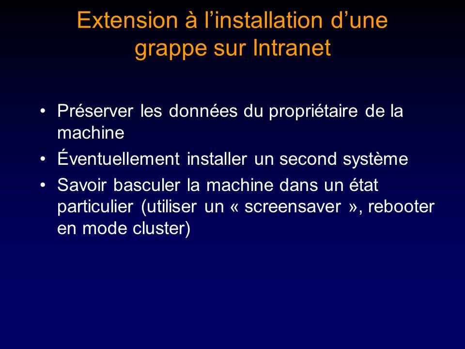 Extension à linstallation dune grappe sur Intranet Préserver les données du propriétaire de la machine Éventuellement installer un second système Savoir basculer la machine dans un état particulier (utiliser un « screensaver », rebooter en mode cluster)