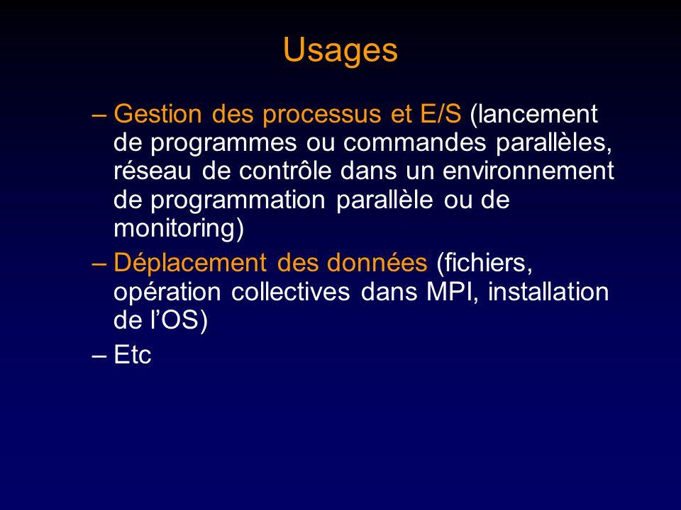 Usages –Gestion des processus et E/S (lancement de programmes ou commandes parallèles, réseau de contrôle dans un environnement de programmation parallèle ou de monitoring) –Déplacement des données (fichiers, opération collectives dans MPI, installation de lOS) –Etc