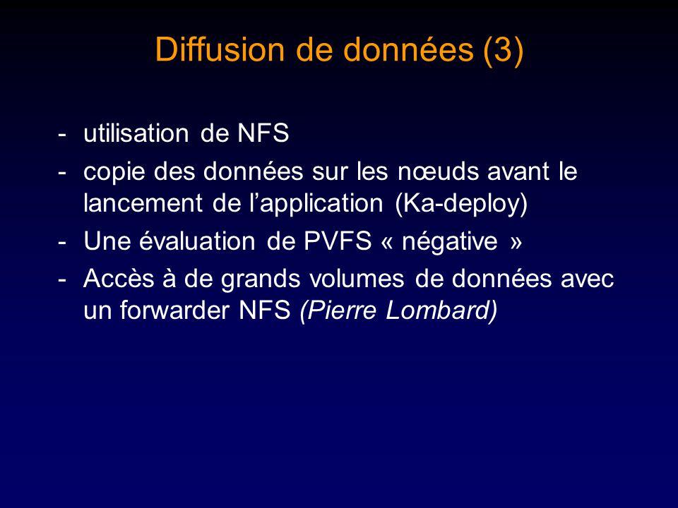 Diffusion de données (3) -utilisation de NFS -copie des données sur les nœuds avant le lancement de lapplication (Ka-deploy) -Une évaluation de PVFS « négative » -Accès à de grands volumes de données avec un forwarder NFS (Pierre Lombard)