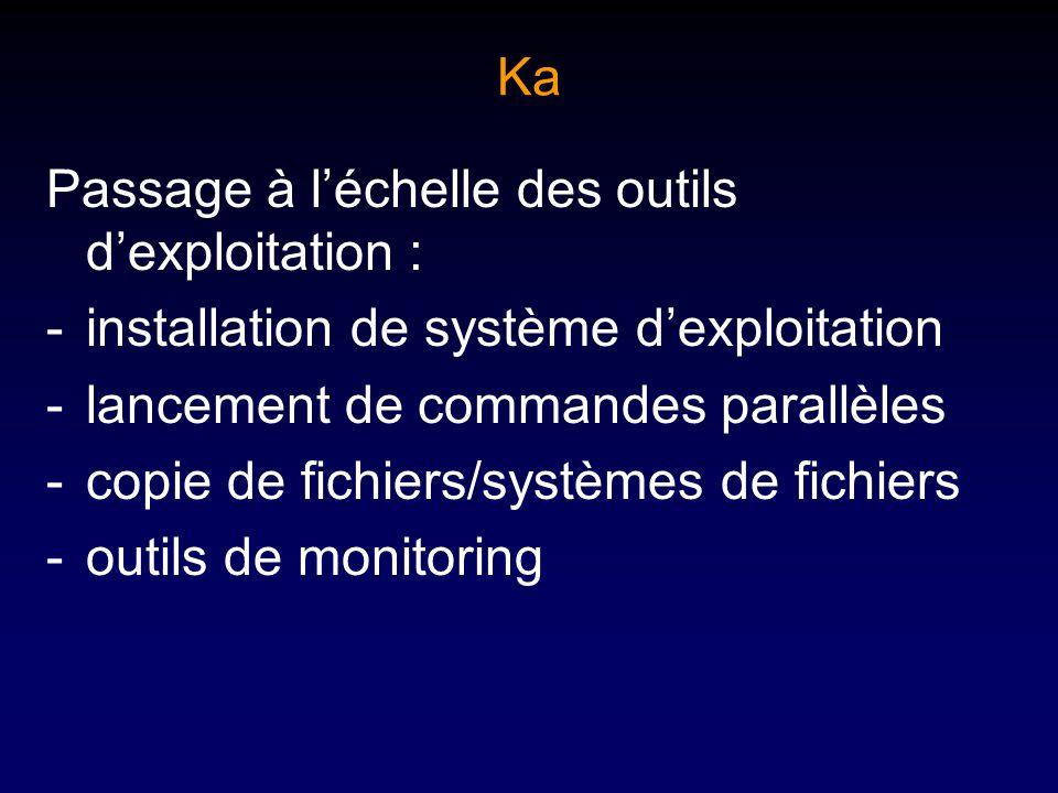Ka Passage à léchelle des outils dexploitation : -installation de système dexploitation -lancement de commandes parallèles -copie de fichiers/systèmes de fichiers -outils de monitoring