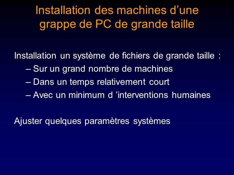 Installation des machines dune grappe de PC de grande taille Installation un système de fichiers de grande taille : –Sur un grand nombre de machines –Dans un temps relativement court –Avec un minimum d interventions humaines Ajuster quelques paramètres systèmes