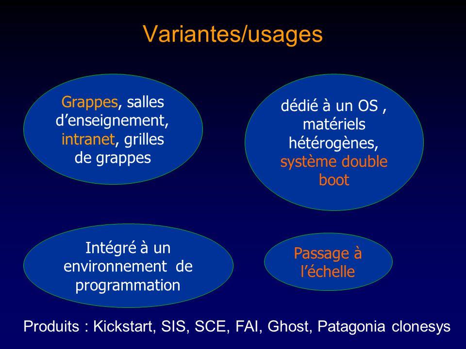 Variantes/usages dédié à un OS, matériels hétérogènes, système double boot Passage à léchelle Intégré à un environnement de programmation Grappes, salles denseignement, intranet, grilles de grappes Produits : Kickstart, SIS, SCE, FAI, Ghost, Patagonia clonesys