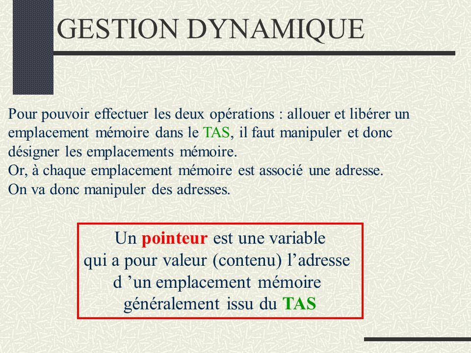 GESTION DYNAMIQUE Gestion dynamique (au fur et à mesure …) : Deux instructions sont utiles: une, pour réserver (ou allouer) un emplacement mémoire dan