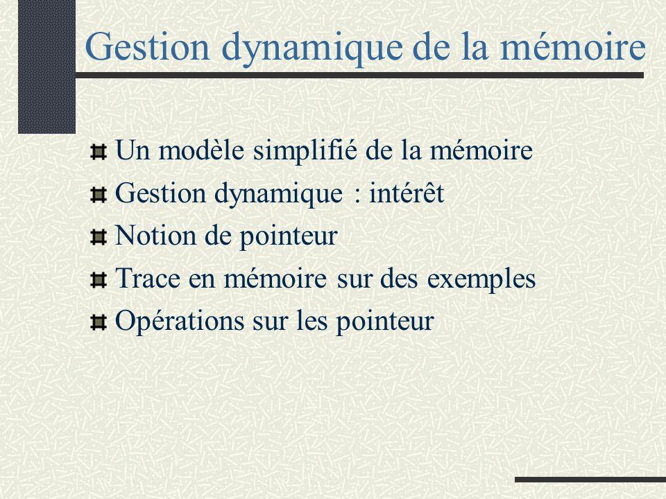 Gestion dynamique de la mémoire Un modèle simplifié de la mémoire Gestion dynamique : intérêt Notion de pointeur Trace en mémoire sur des exemples Opérations sur les pointeur