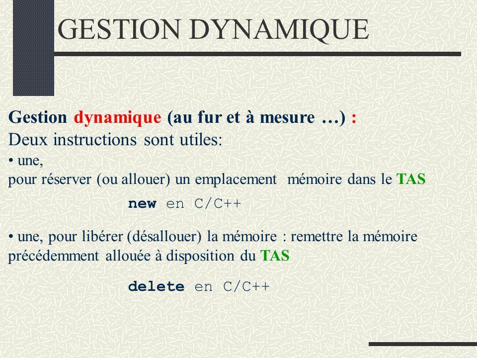 GESTION DYNAMIQUE Gestion dynamique (au fur et à mesure …) : Deux instructions sont utiles: une, pour réserver (ou allouer) un emplacement mémoire dans le TAS une, pour libérer (désallouer) la mémoire : remettre la mémoire précédemment allouée à disposition du TAS new en C/C++ delete en C/C++