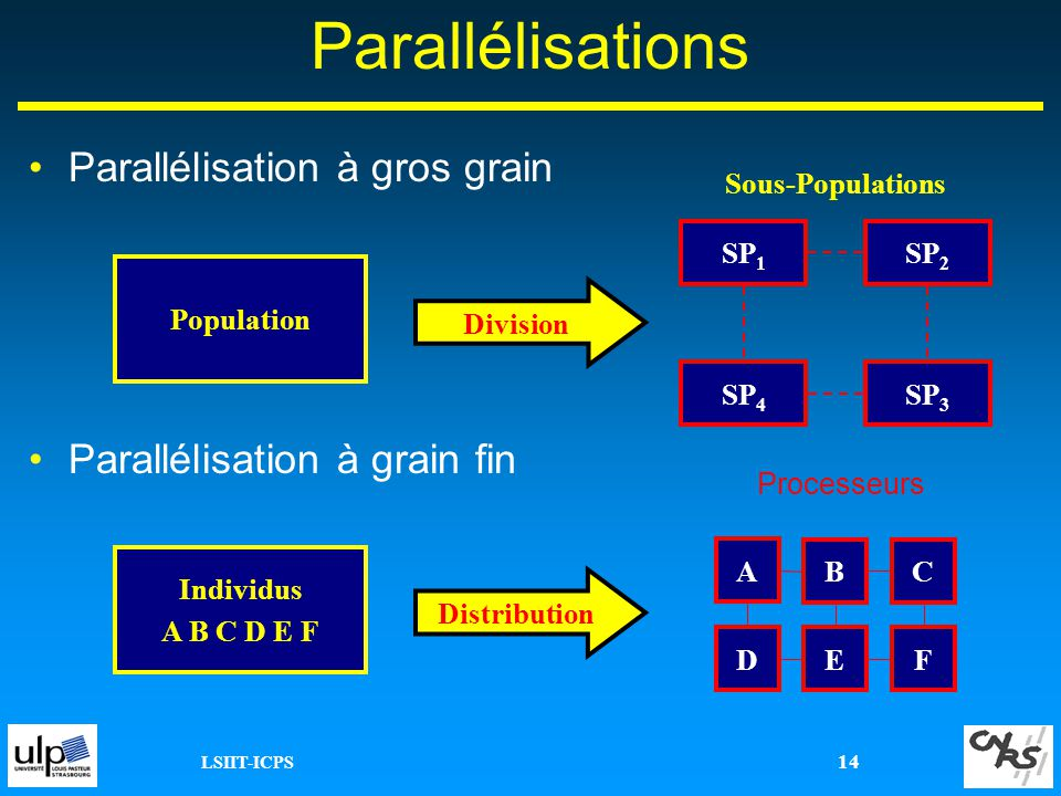 LSIIT-ICPS 14 Parallélisations Parallélisation à gros grain Parallélisation à grain fin Population SP 1 Division SP 2 SP 4 SP 3 Sous-Populations Indiv