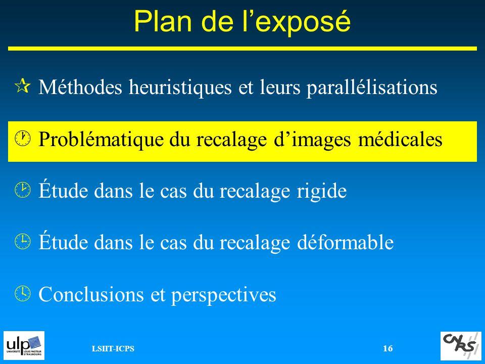 LSIIT-ICPS 16 ¶Méthodes heuristiques et leurs parallélisations ·Problématique du recalage dimages médicales ¸Étude dans le cas du recalage rigide ¹Étu