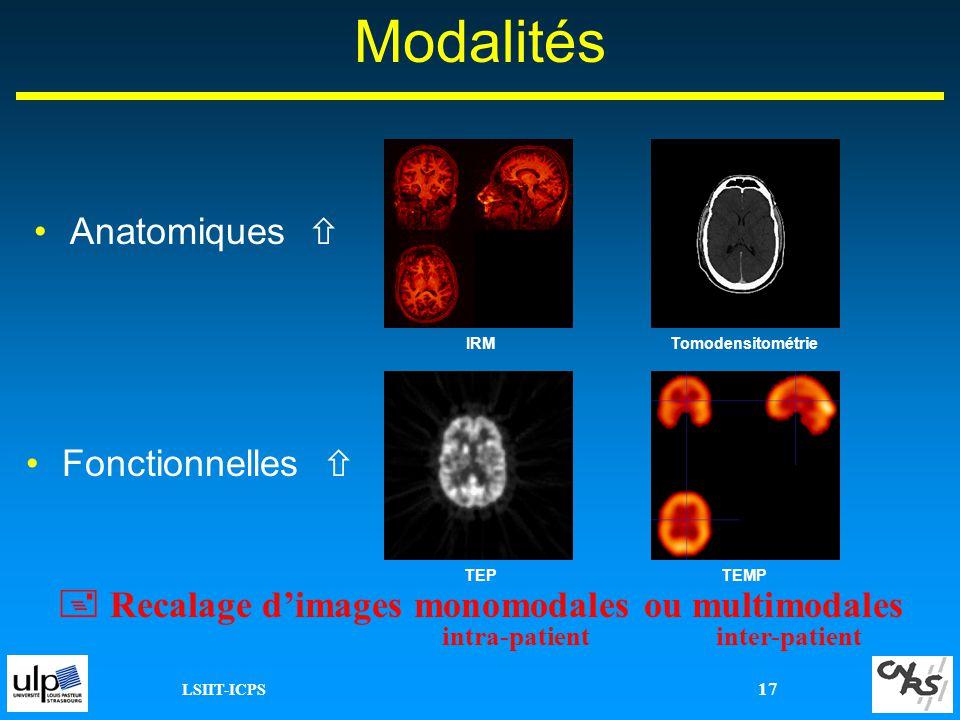 LSIIT-ICPS 17 Modalités Anatomiques Fonctionnelles Recalage dimages monomodales ou multimodales intra-patientinter-patient TEP IRMTomodensitométrie TE