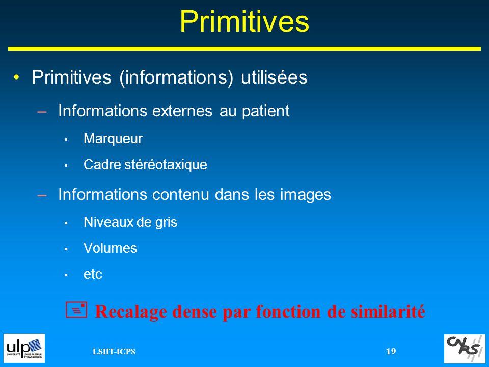 LSIIT-ICPS 19 Primitives Primitives (informations) utilisées –Informations externes au patient Marqueur Cadre stéréotaxique –Informations contenu dans