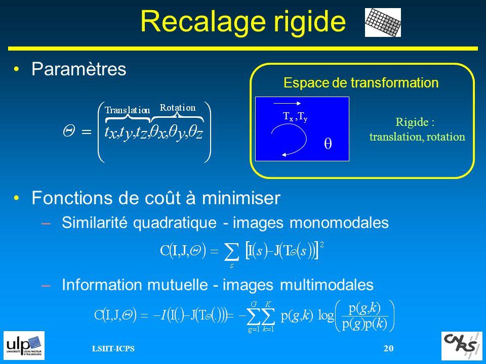LSIIT-ICPS 20 Recalage rigide Paramètres Fonctions de coût à minimiser –Similarité quadratique - images monomodales –Information mutuelle - images mul