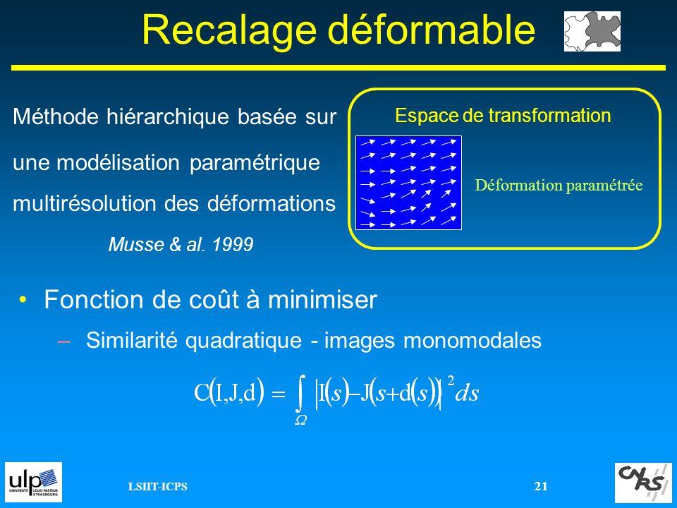 LSIIT-ICPS 21 Fonction de coût à minimiser –Similarité quadratique - images monomodales Recalage déformable Espace de transformation Déformation param