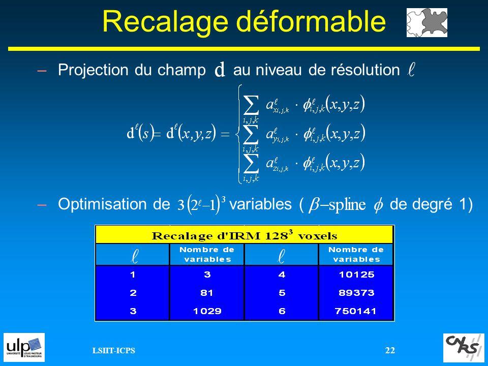 LSIIT-ICPS 22 Recalage déformable –Projection du champ au niveau de résolution –Optimisation de variables ( de degré 1)