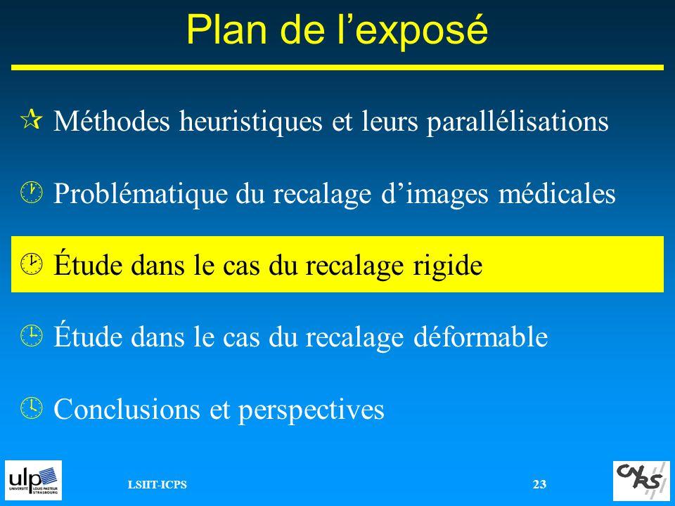 LSIIT-ICPS 23 ¶Méthodes heuristiques et leurs parallélisations ·Problématique du recalage dimages médicales ¸Étude dans le cas du recalage rigide ¹Étu