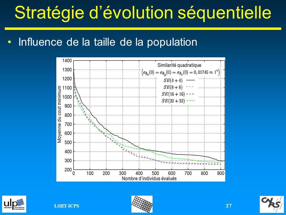 LSIIT-ICPS 27 Stratégie dévolution séquentielle Influence de la taille de la population