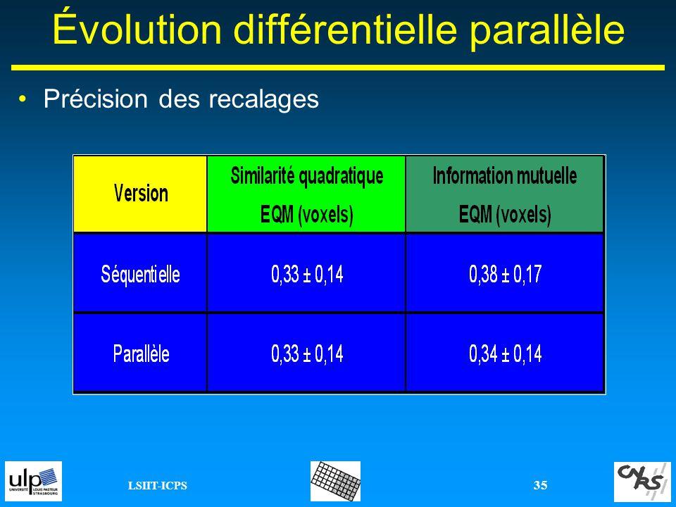LSIIT-ICPS 35 Précision des recalages Évolution différentielle parallèle