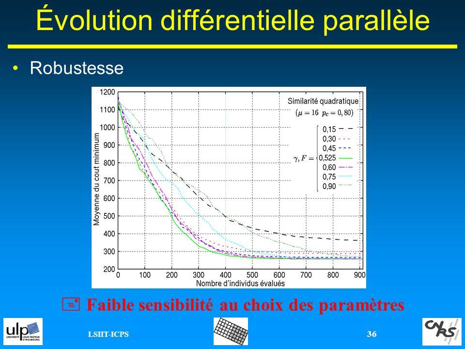 LSIIT-ICPS 36 Description - communications induites Évolution différentielle parallèle Robustesse Faible sensibilité au choix des paramètres