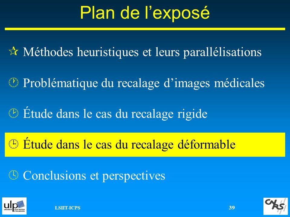 LSIIT-ICPS 39 Plan de lexposé ¶Méthodes heuristiques et leurs parallélisations ·Problématique du recalage dimages médicales ¸Étude dans le cas du reca