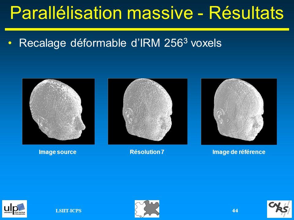 LSIIT-ICPS 44 Parallélisation massive - Résultats Image sourceImage de référenceRésolution 7 Recalage déformable dIRM 256 3 voxels