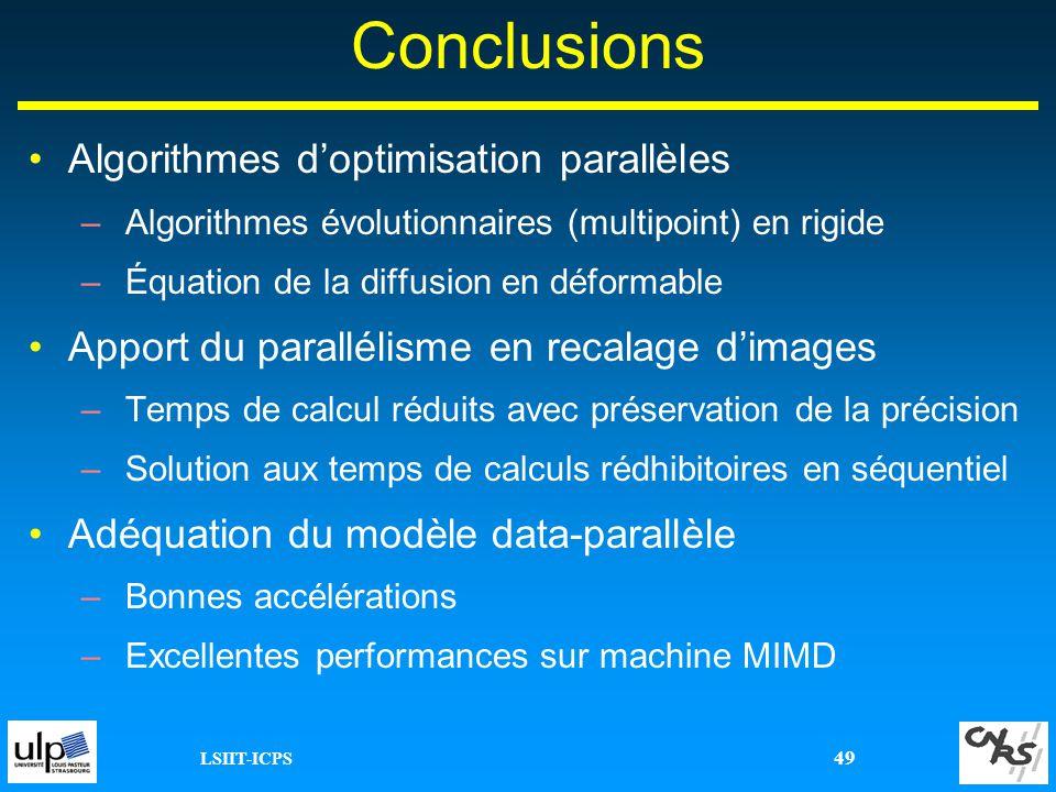 LSIIT-ICPS 49 Conclusions Algorithmes doptimisation parallèles –Algorithmes évolutionnaires (multipoint) en rigide –Équation de la diffusion en déform