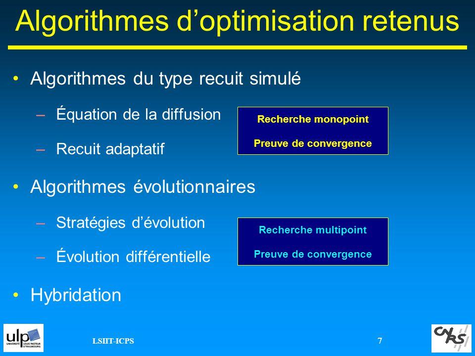 LSIIT-ICPS 7 Algorithmes doptimisation retenus Algorithmes du type recuit simulé –Équation de la diffusion –Recuit adaptatif Algorithmes évolutionnair