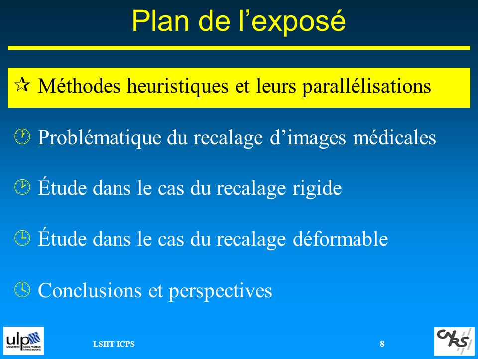 LSIIT-ICPS 39 Plan de lexposé ¶Méthodes heuristiques et leurs parallélisations ·Problématique du recalage dimages médicales ¸Étude dans le cas du recalage rigide ¹Étude dans le cas du recalage déformable ºConclusions et perspectives