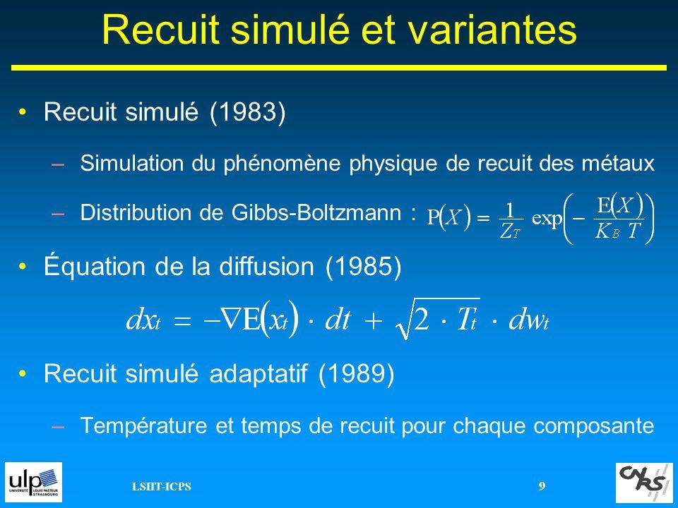 LSIIT-ICPS 9 Recuit simulé et variantes Recuit simulé (1983) –Simulation du phénomène physique de recuit des métaux –Distribution de Gibbs-Boltzmann :