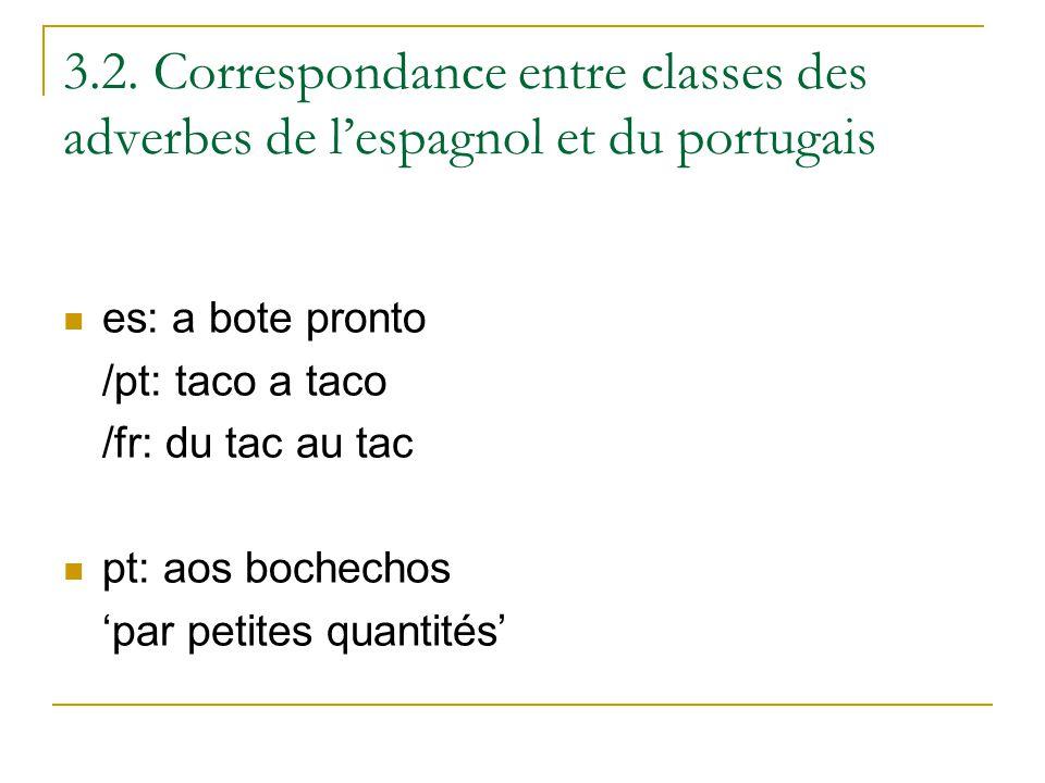 3.2. Correspondance entre classes des adverbes de lespagnol et du portugais es: a bote pronto /pt: taco a taco /fr: du tac au tac pt: aos bochechos pa
