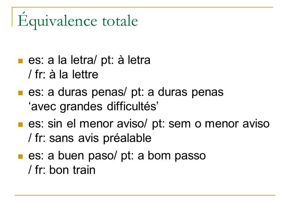 Équivalence totale es: a la letra/ pt: à letra / fr: à la lettre es: a duras penas/ pt: a duras penas avec grandes difficultés es: sin el menor aviso/