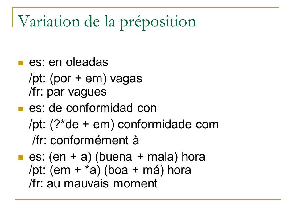 Variation de la préposition es: en oleadas /pt: (por + em) vagas /fr: par vagues es: de conformidad con /pt: ( *de + em) conformidade com /fr: conformément à es: (en + a) (buena + mala) hora /pt: (em + *a) (boa + má) hora /fr: au mauvais moment