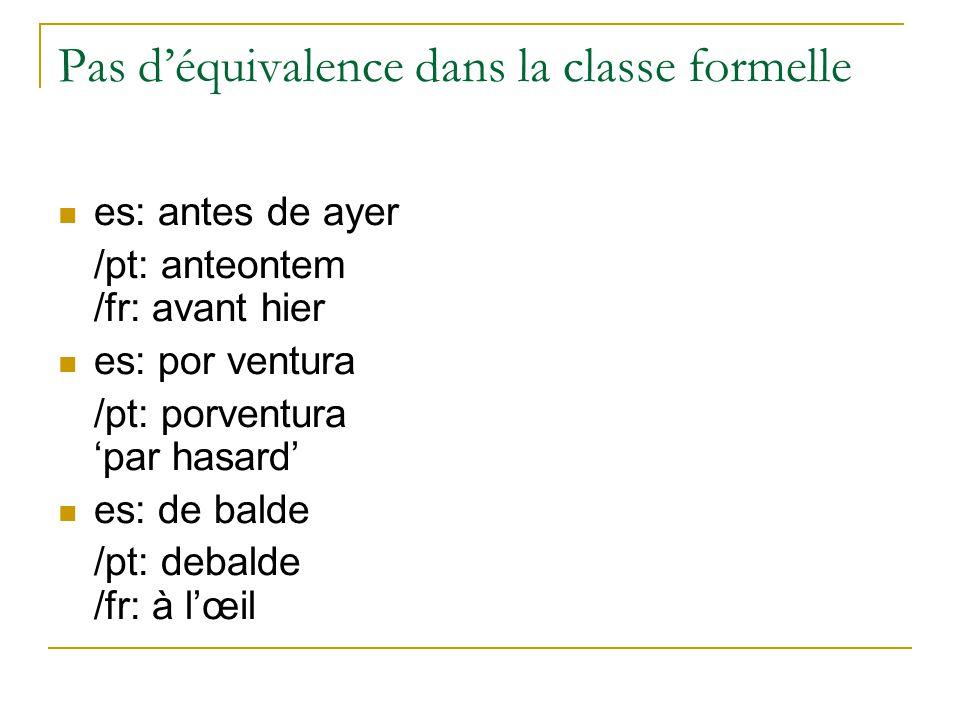 Pas déquivalence dans la classe formelle es: antes de ayer /pt: anteontem /fr: avant hier es: por ventura /pt: porventura par hasard es: de balde /pt:
