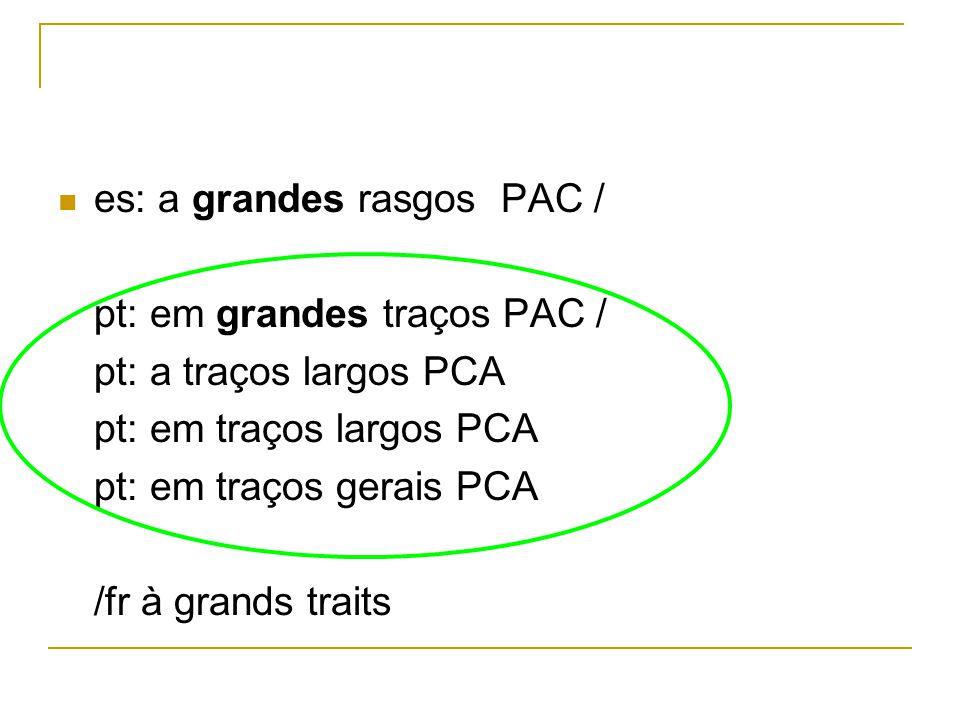 es: a grandes rasgos PAC / pt: em grandes traços PAC / pt: a traços largos PCA pt: em traços largos PCA pt: em traços gerais PCA /fr à grands traits
