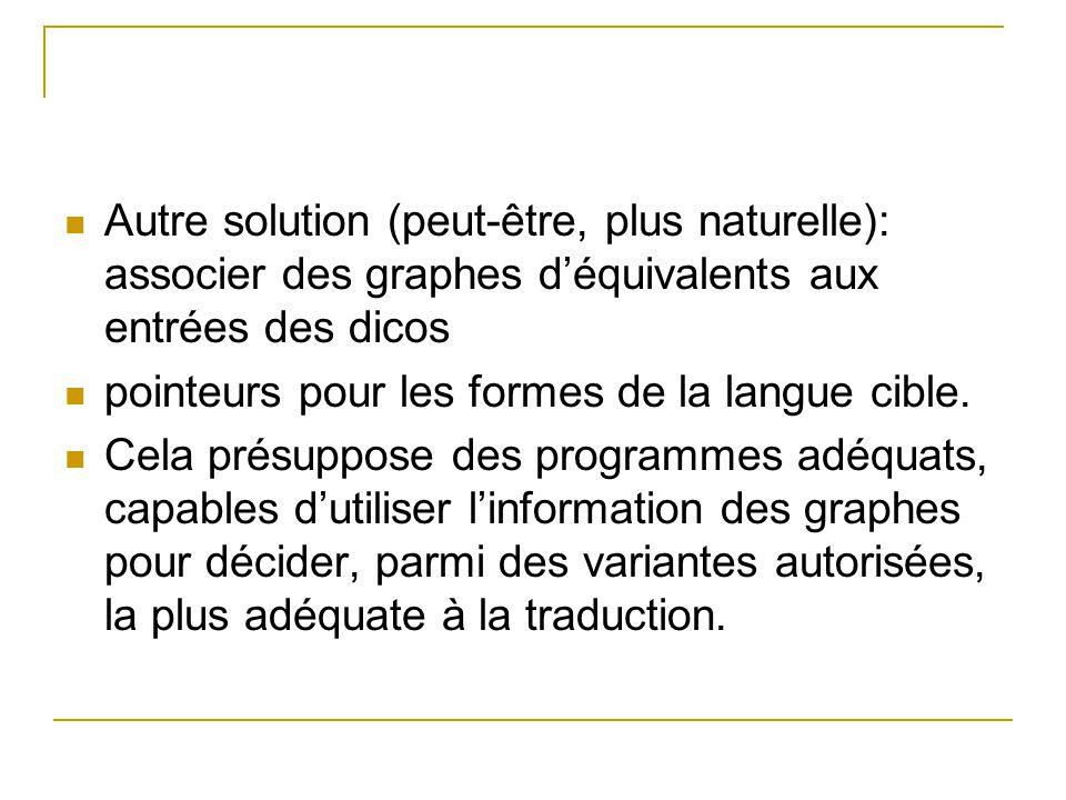 Autre solution (peut-être, plus naturelle): associer des graphes déquivalents aux entrées des dicos pointeurs pour les formes de la langue cible. Cela